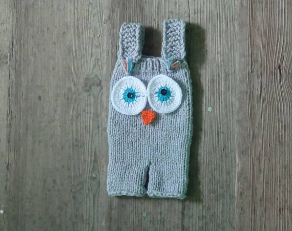 Knit romper photo prop romper Baby knitted owl romper Knit