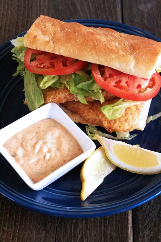 tilapia po boy... that remoulade looks good enough to eat with a spoon