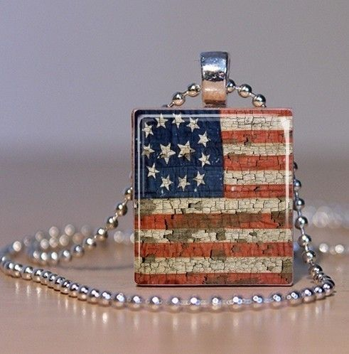 Vintage American Flag - Patriotic Upcycled Scrabble Tile Pendant or Tie Tack. $7.95, via Etsy.