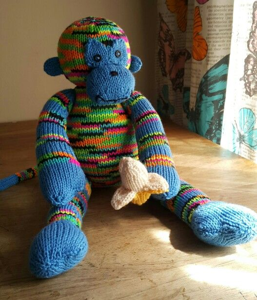Monkey knitted for my son. Pattern by Sarah Keen