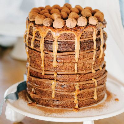 Taste Mag | Eight layer mississippi mud cake with caramel drizzle and chocolate truffles @ http://taste.co.za/recipes/eight-layer-mississippi-mud-cake-with-caramel-drizzle-and-chocolate-truffles/