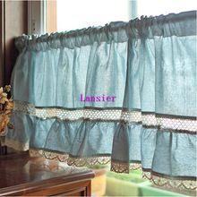 Estilo americano mediterrâneo linho rendas pequeno azul decorativa cafe cortinas da cozinha 180 cm x 50 cm(China (Mainland))