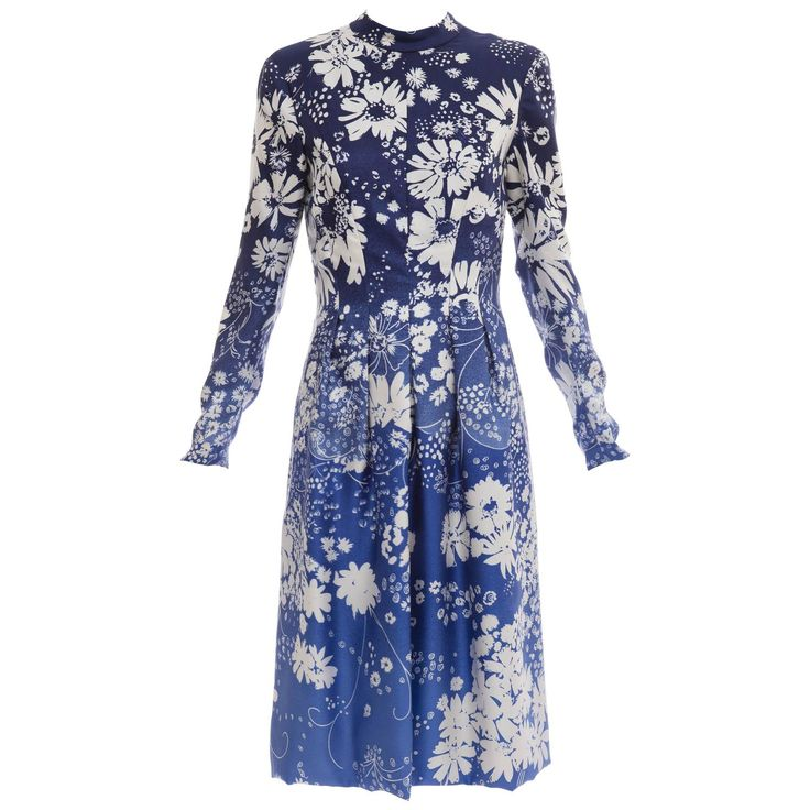 Pauline Trigere Navy Blue Ombre Silk Floral Long Sleeve Dress, Circa 1980's | From a collection of rare vintage day dresses at https://www.1stdibs.com/fashion/clothing/day-dresses/