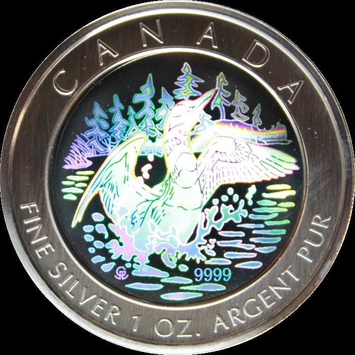 2002 Canada 1 oz Silver Hologram Anniversary Loon With Box COA