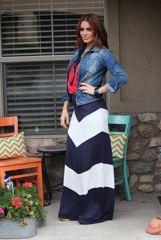Big Chevron stripes on a Maxi Skirt