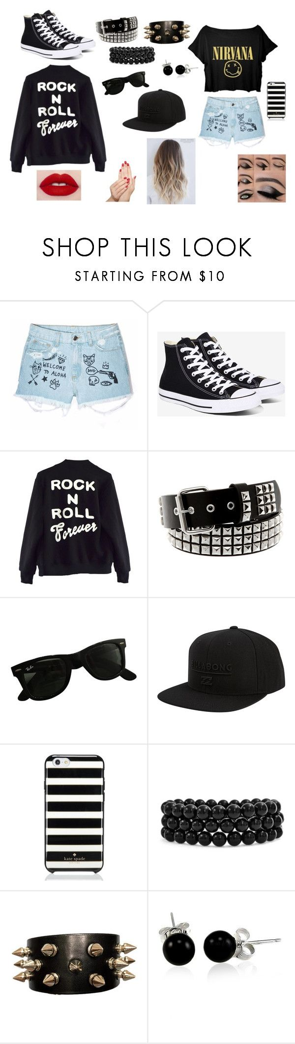 """""""mental abuse to humans"""" by withered-ros on Polyvore featuring moda, Aloha From Deer, Converse, High Heels Suicide, Ray-Ban, Billabong, Kate Spade, Bling Jewelry y Piggy Paint"""