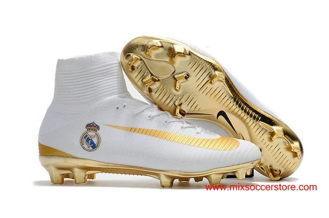 "Nike Mercurial Superfly 5 ""Real Madrid"" FG ACC White Golden Top Mens Football Boots"