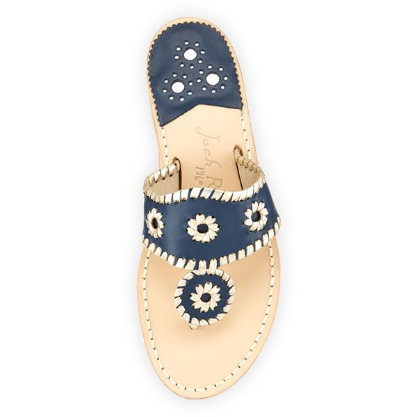 Jack Rogers Palm Beach Whipstitch Thong Sandal (8.145 RUB) ❤ liked on Polyvore featuring shoes, sandals, beach sandals, navy sandals, flat pumps, navy blue flat sandals and jack rogers sandals