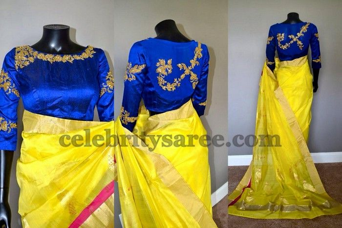 Yellow Saree Elbow Length Blouse | Saree Blouse Patterns
