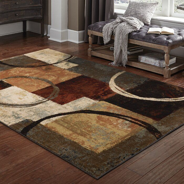 Shankle Abstract Brown Black Rusty Red Rug Area Rugs Black Area Rugs Rugs