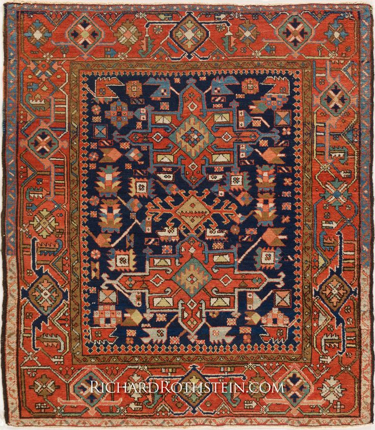 Chinese Carpets And Rugs: Antique Square Serapi Oriental Rug C6D3702