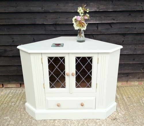 Shabby Chic Corner Coffee Table: Shabby Chic Wooden Painted F&B Pine Corner Cabinet TV