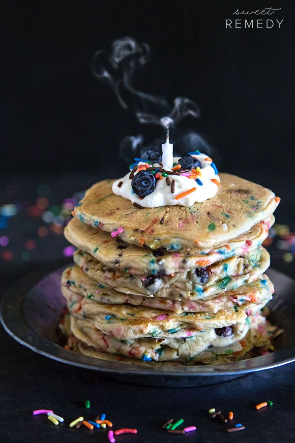 These Birthday Funfetti Pancakes are made with blueberries and lots of love. Make these for your favorite person on their birthday!