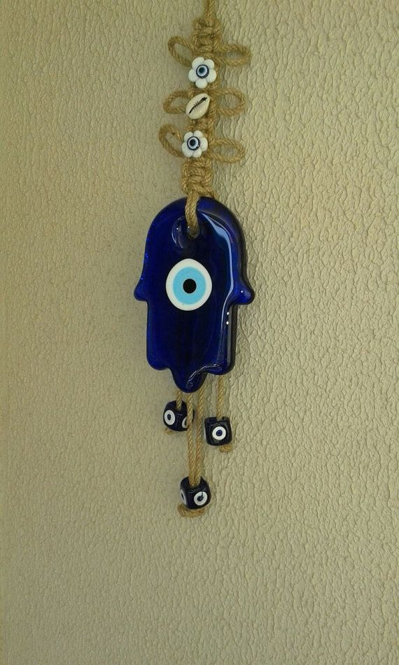 Hand of fatima Hamsa evil eye wall hanging by NORTHsKNITTING