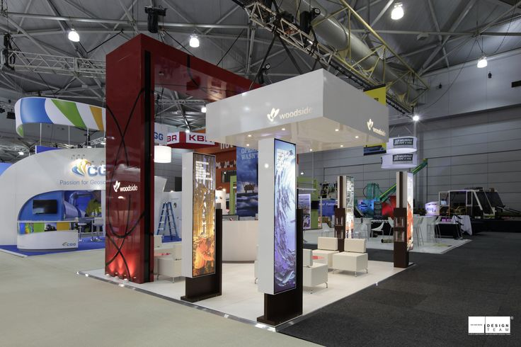 WOODSIDE ENERGY This award winning stand represents the values of a quality company.  Designed to suit different conferences the Woodside stand offers both information and hospitality to a demanding audience