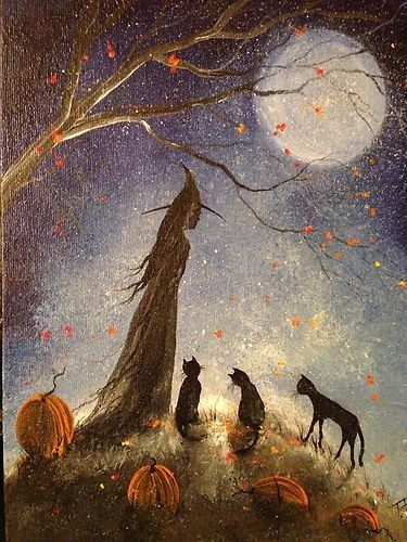 Original OOAK Painting Witch Cat Girl Halloween Gothic Folk Art Terri Foss