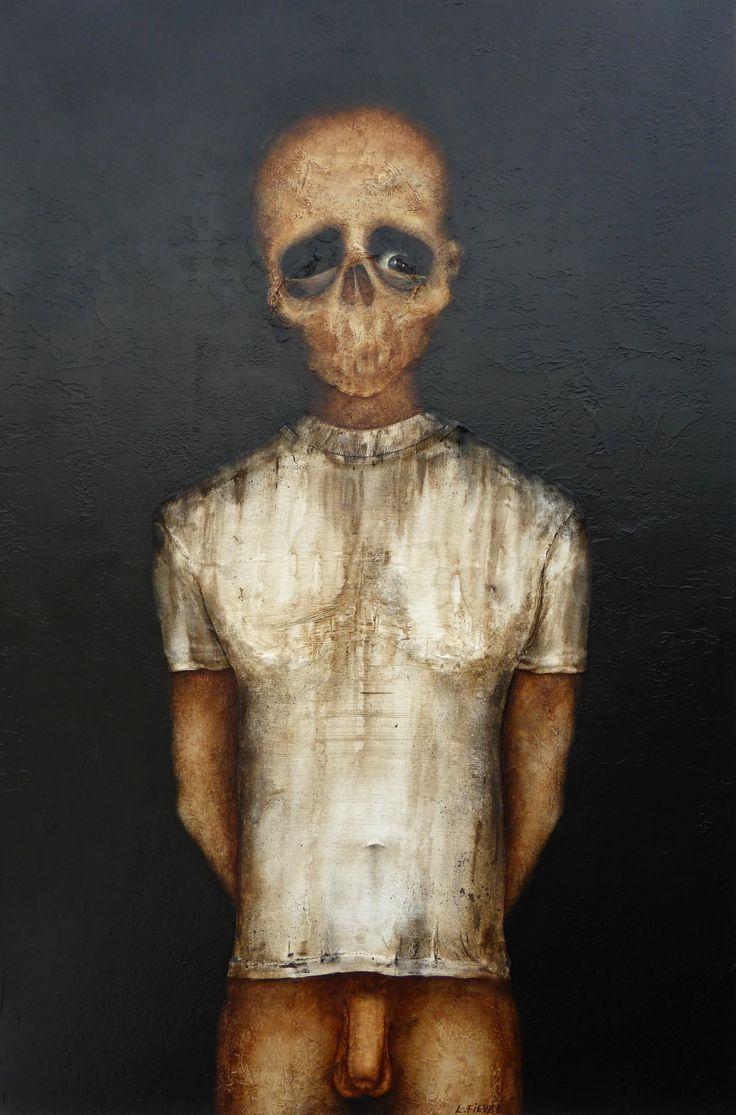 L'exécution © Laurent Fièvre - Canvas (acrylic, silk paper, reconstituted T-shirt) - 81 x 54 cm - 20/07/2014