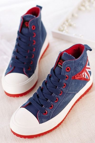 Union Jack Wash Sneakers OASAP.com