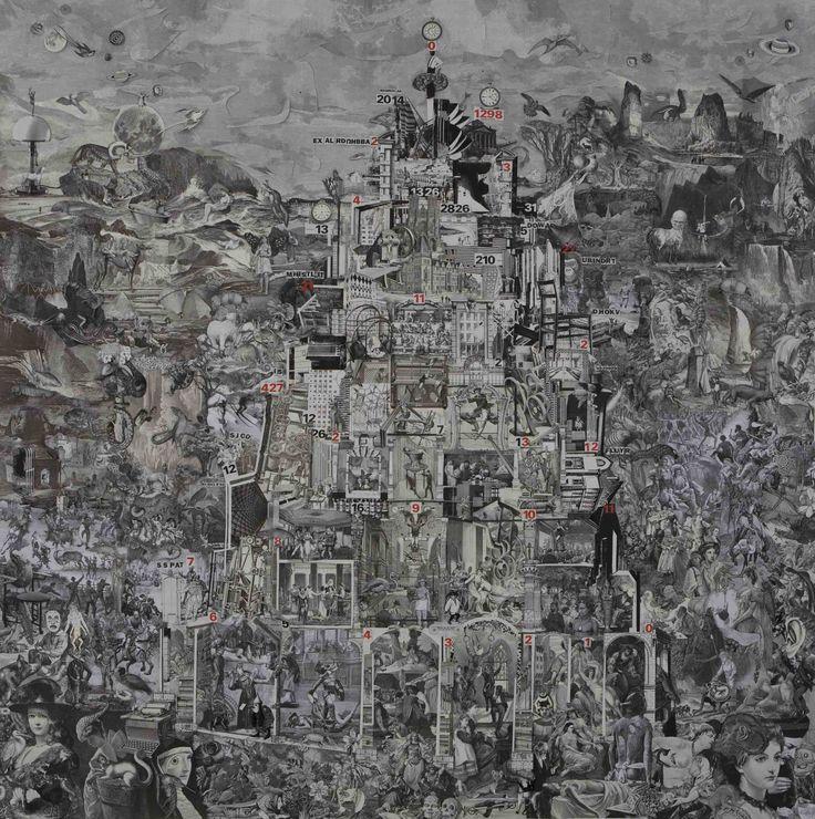 Title: BABEL CIRCUS - 2014 Collage on paper Size: cm 200x200 Unique piece