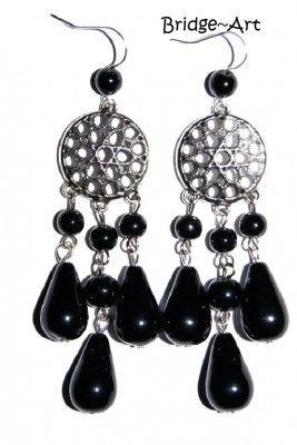 Kolczyki Czarne z Koralików Jablonex #earrings #kolczyki #Swarovski