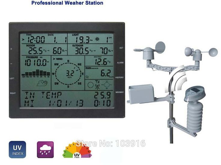 Professional weather station: wind speed wind direction rain meter pressure temperature humidity UV