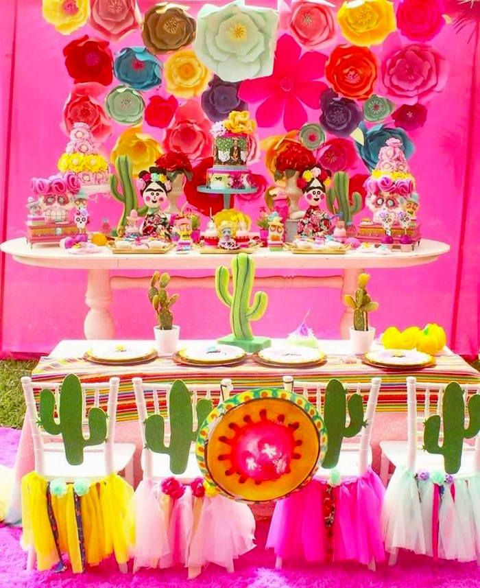 Fiesta party spread from a Frida Kahlo Day of the Dead Inspired Fiesta on Kara's Party Ideas | KarasPartyIdeas.com (4)