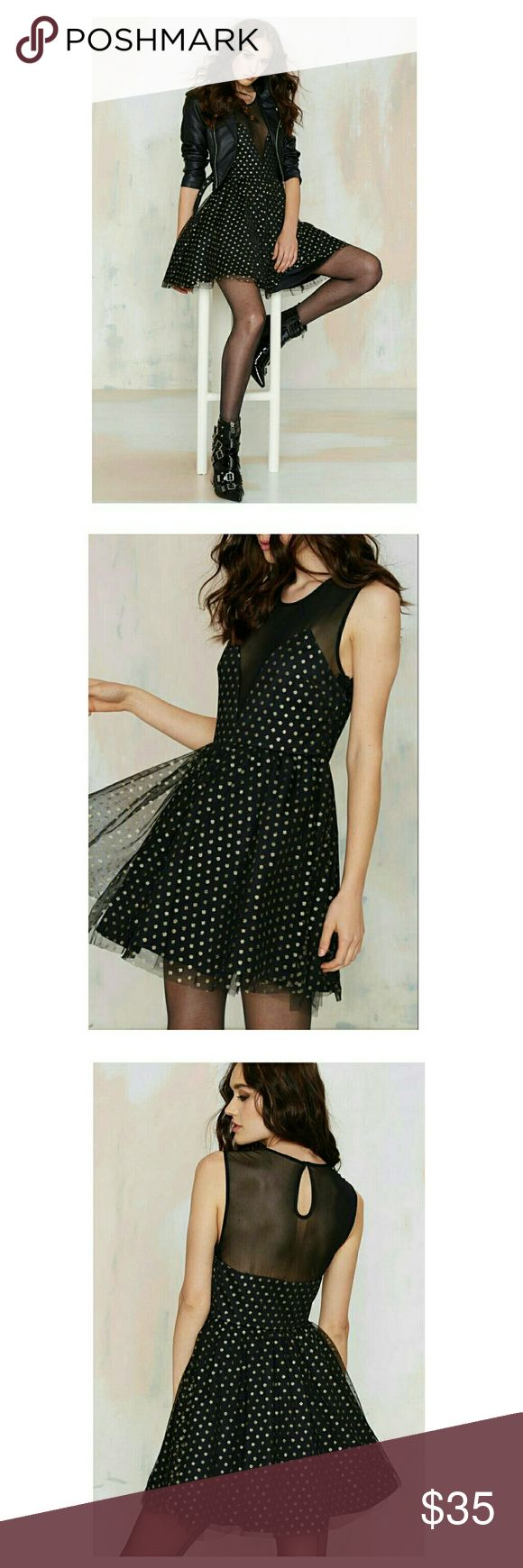 💕Nast Gal💕 💕NWOT- excellent condition On the Spot Poka Dot dress Color: black/ gold mettalic poka dots Nasty Gal Dresses