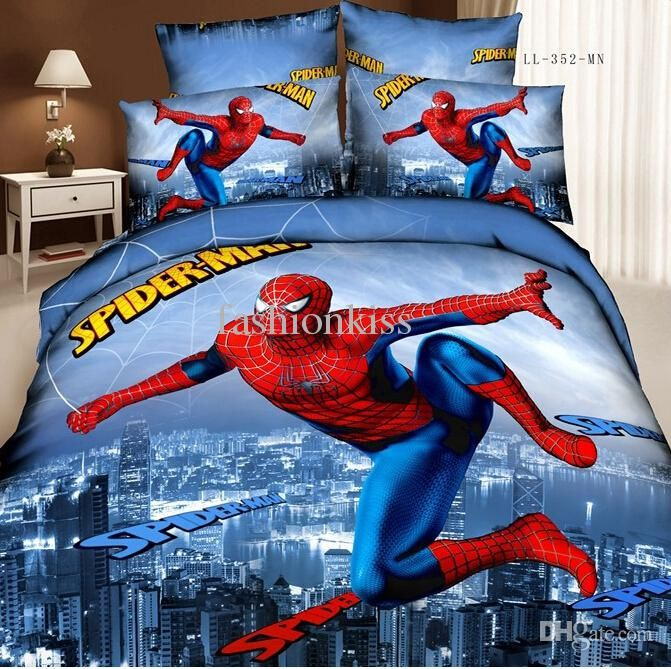 Best Quality Wholesale Spiderman Bedding Set 3d Oil Painting 100% Cotton Teen Boy Bed Set Bed Sheets Super Man Kids Bedding King Size At Cheap Price, Online Bedding Sets | Dhgate.Com