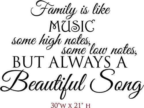 Wall Decal Sticker Family Is Like Music
