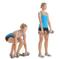 Dumbbell Bent-Knee Deadlift:   Set a pair of 10-to 15-pound dumbbells on the floor in front of you. Squat, keeping your chest up, and grab the dumbbells with an overhand grip. Your arms should be straight and your lower back slightly arched, not rounded. Contract your glutes and stand up with the dumbbells, straightening your legs, thrusting your hips forward, and pulling your torso back and up. Slowly lower the dumbbells to the floor. That's one rep.