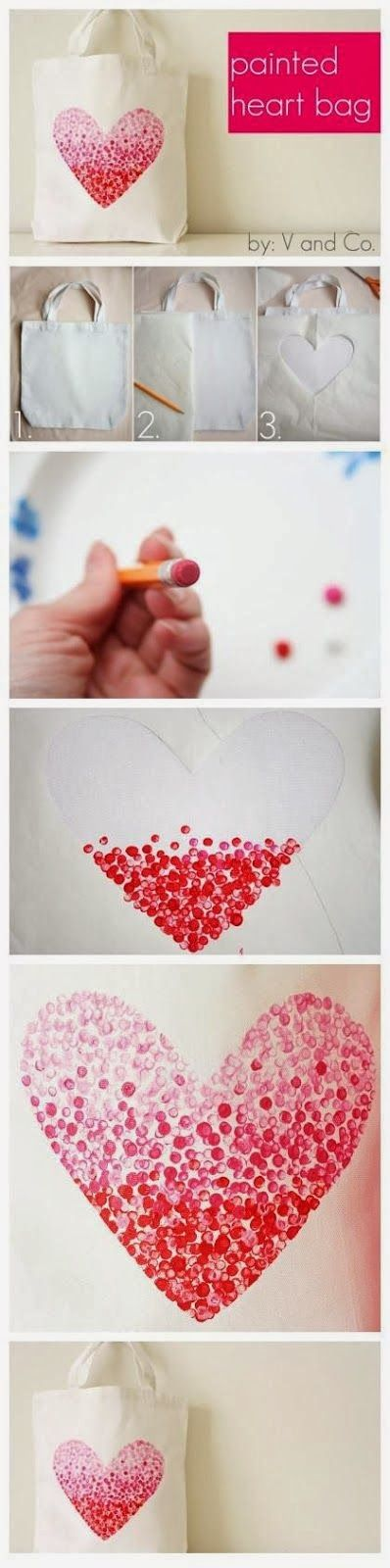 DIY Stamp Paint Heart Canvas Tote Bag - Cut a heart shape on wax paper and place it on the bag, dot with paint and remove the wax paper
