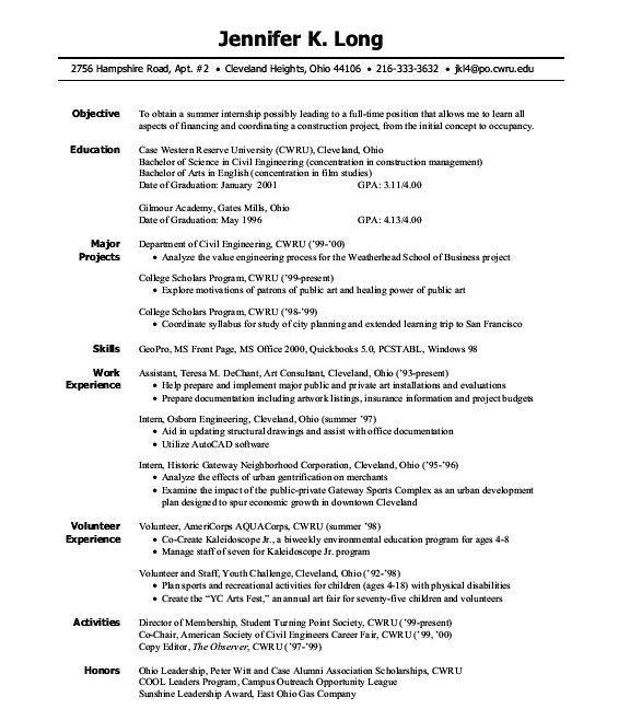 Pin By Roser On Resume In 2020 Resume Objective Sample Internship Resume Student Resume