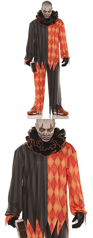 Men Costumes: Evil Clown Horror Gothic Adult Male Halloween Costume -> BUY IT NOW ONLY: $30.49 on eBay!
