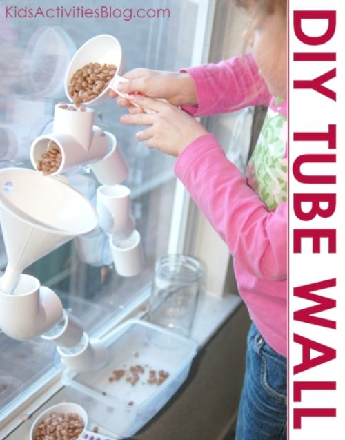 How to create a tube wall for hours of kid play! Beans or water - great for indoors on window on wet day.