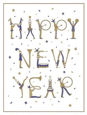 Embossed Happy New Year Holiday Cards