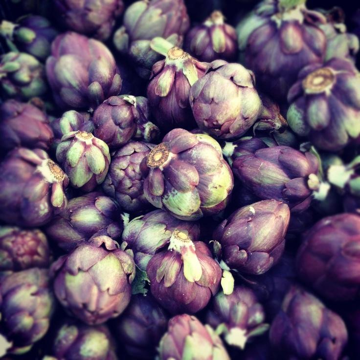 purple baby artichokes from the santa monica farmer's market
