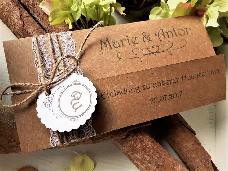 Einladungskarten   Hochzeitseinladung Vintage Wickelkarte Spitze   Ein  Designerstück Von CaSaRoMi Bei DaWanda