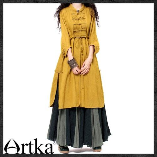 Artka Feminine Retro Ethnic Dress Frog Buckles Cotton-Linen WA10132C | ArtkaFashion - Clothing on ArtFire