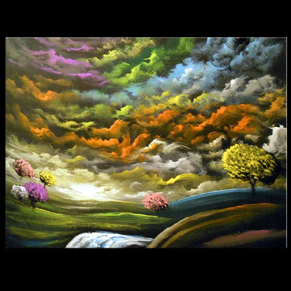 large painting art surreal waterfall abstract fantasy  This painting just makes me happy.