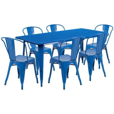 Flash Furniture 31.5'' x 63'' Rectangular Metal Indoor-Outdoor Table Set with 6 Stack Chairs, Multiple Colors, Blue
