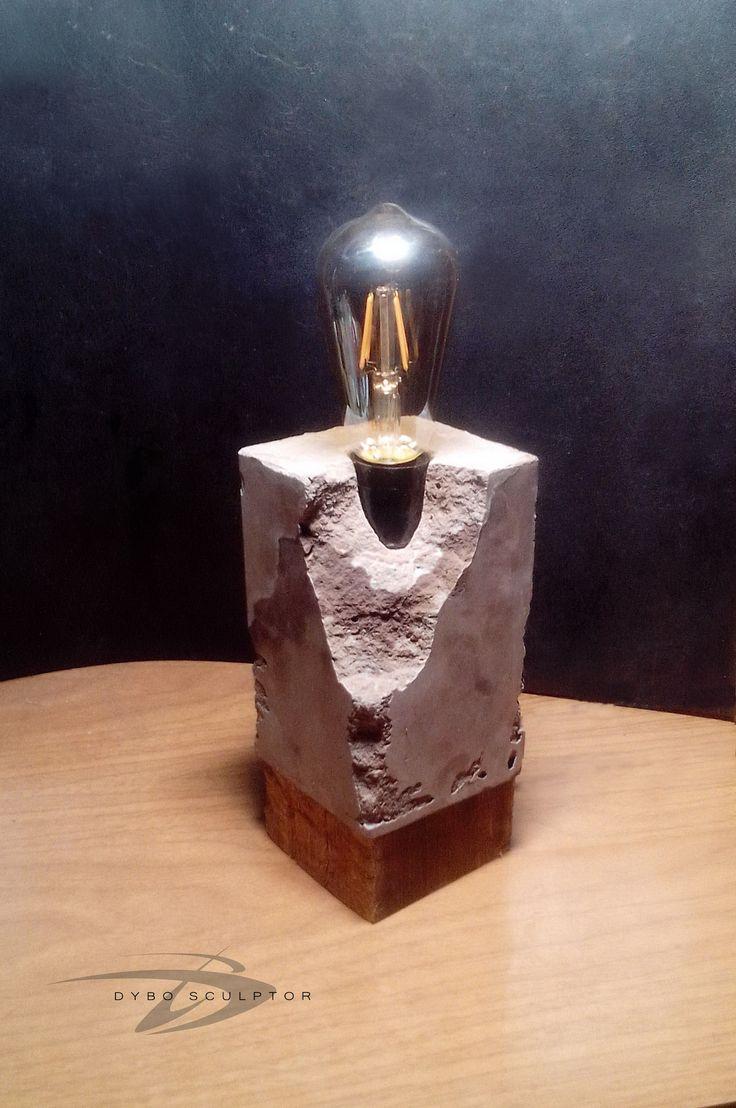 Светильник авторской работы в стиле Steampunk для интерьера и экстерьера Loft, Industrial.  Материал - камень Dybrilitt brutal, Антикварное дерево