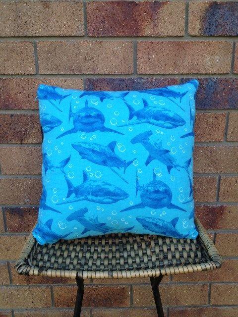 Sharks Are Powerful. 40x40cm Shark Print Cushion. $AUD15