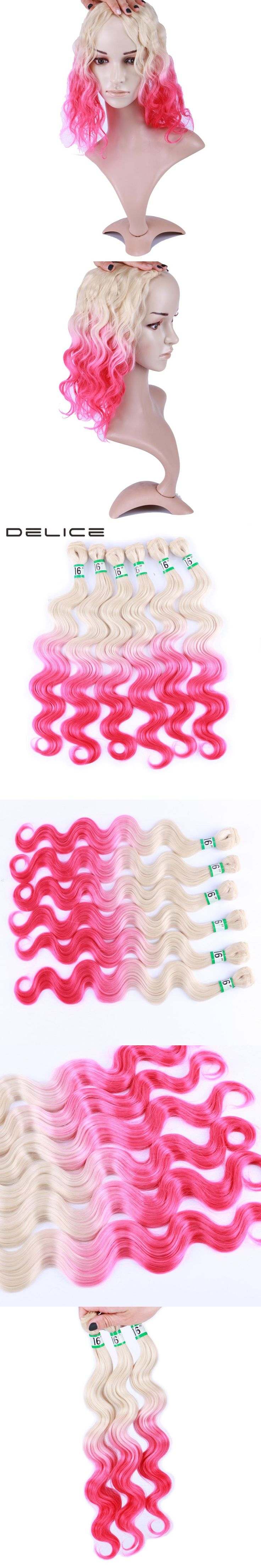 DELICE 6pcs/pack 16inch Blonde Pink Ombre Color Body Wave Hair Weaving Synthetic Hair Extensions Weft Bundles For Women