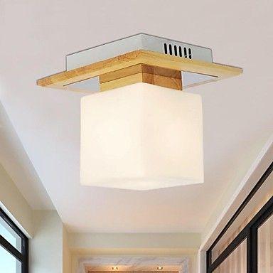 Oak Ceiling Lamp, One Light, Oak and Glass, 220~240V (HY9021) – AUD $ 60.18