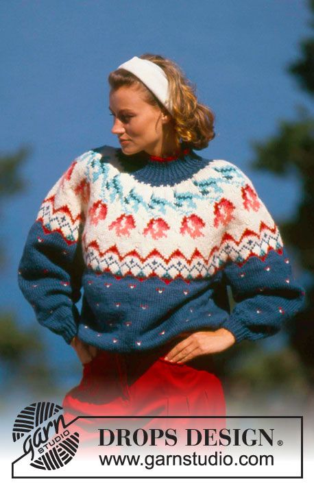 "DROPS 19-4 - DROPS jumper with flower pattern and raglan sleeve in ""Alaska"". - Free pattern by DROPS Design"