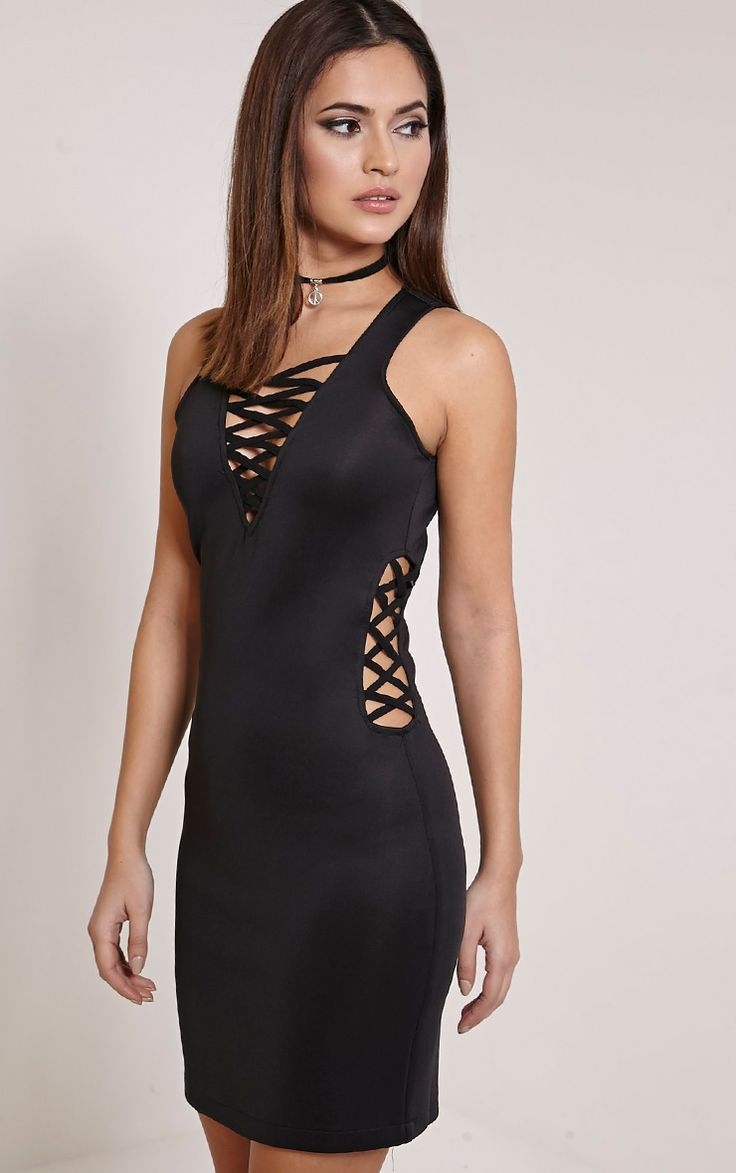 Black dress for party - Rozabel Black Lace Up Front And Side Mini Dress
