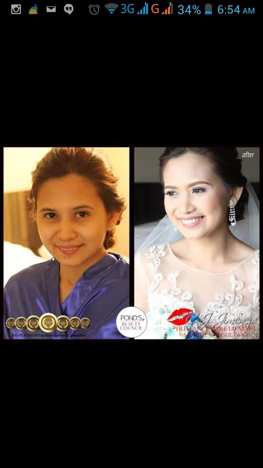 """We started Julie's hair and make up at 4AM. No trial make up nor unlimited retouch nor 2nd look but her fabulous look lasted til after the wedding. Her feedback to us """"Hi Ms. CJ thank you so much!! you made me beautiful on my big day! Madami nagsabi maganda make up ko. Lahat sila nagustuhan ayos mo sakin.. hehe... God bless Ms. CJ.. Hope you more more blessings to come and success pa in your life. Di ako nagkamali piliin ka HMUA.. Worth it po talaga. Thanks thanks! mwaaahhhug!"""".  CJ Jimenez…"""