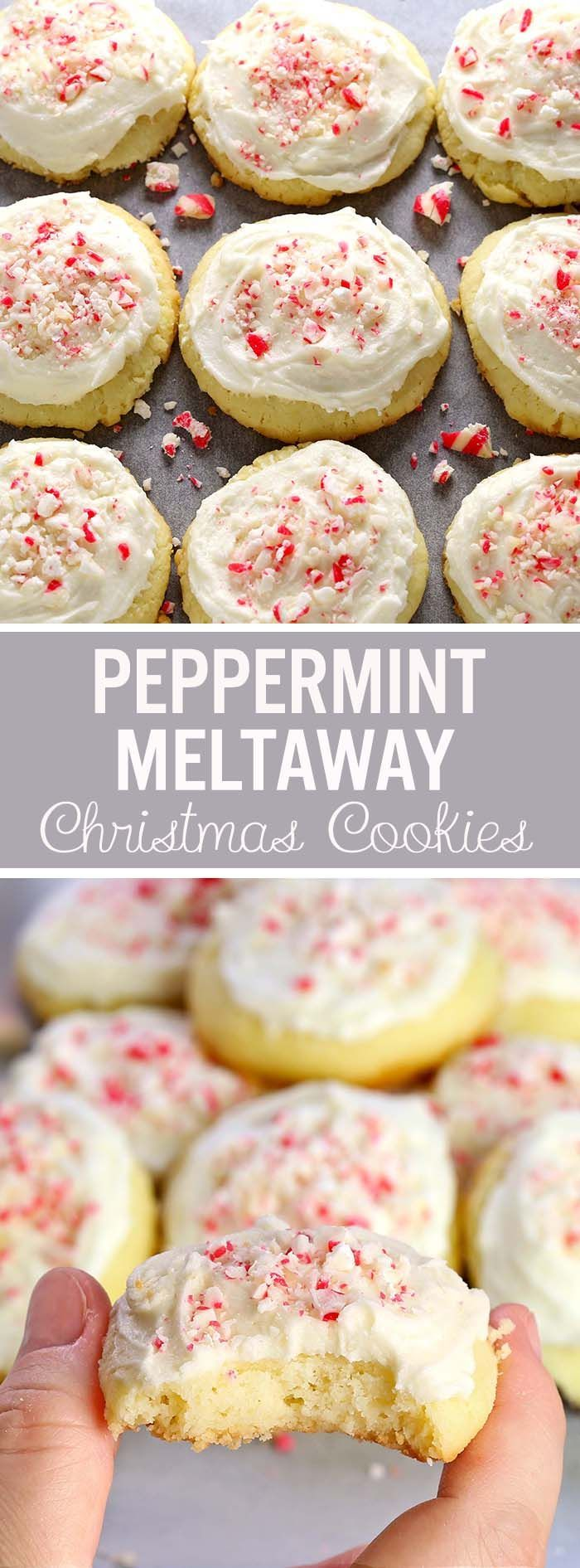 Meltaway Cookies now in a new, special Christmas Edition – in a little more festive suit, with a touch of Peppermint Buttercream Frosting and crispy little candy cane crumbs. And YES they DO melt in your mouth...do I need to say more ?