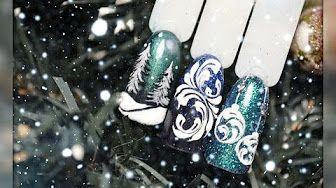"Новогодний дизайн ногтей ""Елки в синем"" / New Year nail design ""Firs in blue"" - YouTube"