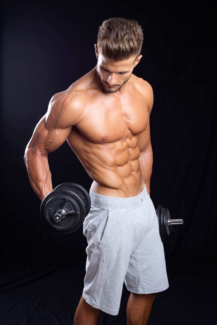Antonio Pozo shirtless in grey shorts - dumbbell curls and ...
